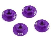 AMR 4mm Aluminum Serrated Flange Nut (Purple) (4)