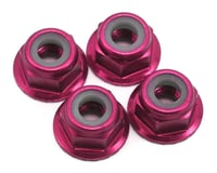 Traxxas 4mm Aluminum Flanged Serrated Nuts (Pink) (4)