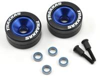 Traxxas Bandit Aluminum Wheelie Bar Wheel Set w/Rubber Tires (Blue) (2)