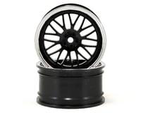 Vaterra 12mm Hex 54x30mm Rear Deep Mesh Wheel (2) (Chrome/Black)
