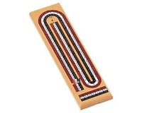 Wood Expressions 30-1113 Natural Solid Wood 3 Track Cribbage Board with Metal Pegs - Red, White, & Blue Tracks