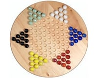 """Wood Expressions WE Games 49-3011 Solid Wood 11.5"""" Chinese Checkers Set with Glass Marbles"""
