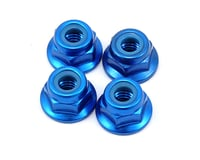 Yokomo Formula 001 4mm Aluminum Flange Locknut (Blue) (4)