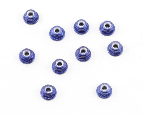 Team Associated Factory Team 3mm Aluminum Flanged Locknut (Blue) (10)