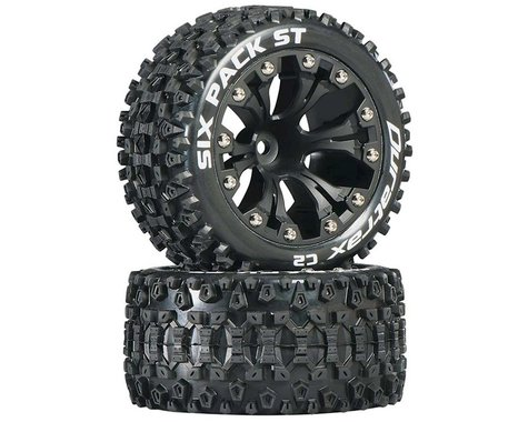 """DuraTrax Sixpack ST 2.8"""" Mounted Nitro Rear Truck Tires (Black) (2) (1/2 Offset)"""
