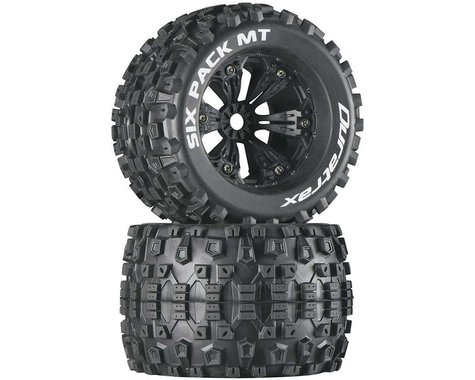 """DuraTrax Six Pack MT 3.8"""" Pre-Mounted Truck Tires (Black) (2) (1/2 Offset)"""