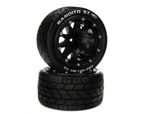 """DuraTrax Bandito ST Belted 2.8"""" 2WD On-Road Truck Tires w/14mm Hex (Black) (2)"""