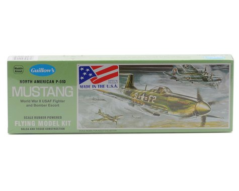 Guillow North American P-51D Mustang Rubber Powered Flying Model Kit