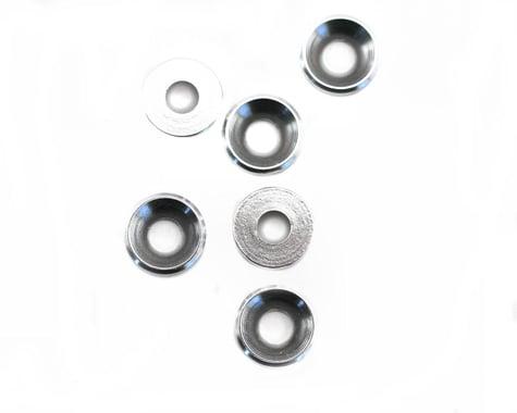 Racers Edge 4mm Silver Aluminum Flat Head Washers (6)