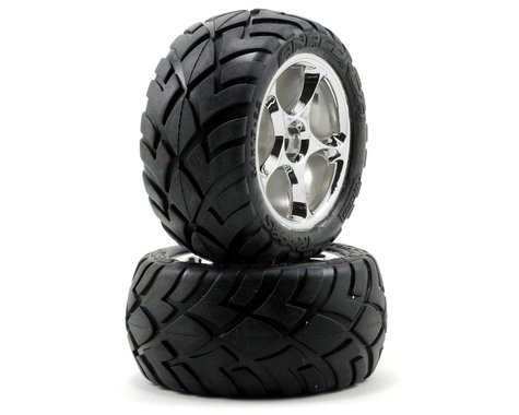Traxxas Anaconda Rear Tires w/Tracer Wheels (2) (VXL Bandit) (Chrome) (Standard)