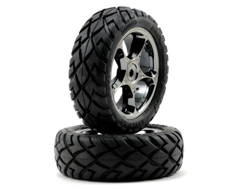 "Traxxas Anaconda Front Tires w/Tracer 2.2"" Wheels (2) (Black Chrome) (Standard)"