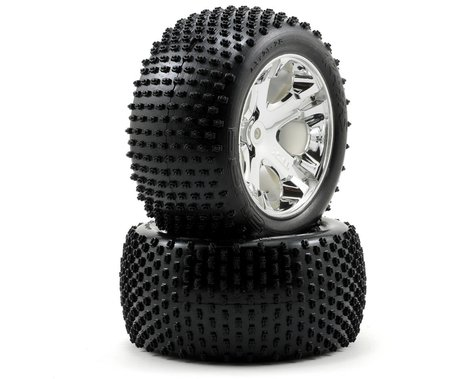 Traxxas Alias Rear Tires w/All-Star Wheels (2) (Chrome) (Standard)