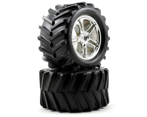 Traxxas Pre-Mounted T-Maxx Tires w/SS Split Spoke Wheels (2) (Chrome)