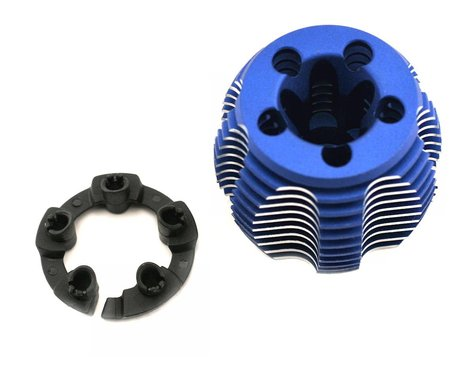 Traxxas Cooling head, PowerTune (machined aluminum, blue-anodized) (TRX 2.5 and 2.5R)/ head prot