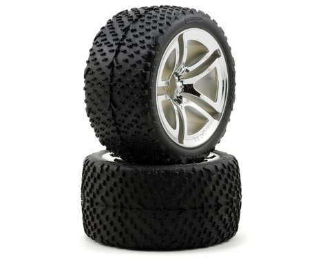Traxxas Victory Tires w/Twin Spoke Rear Wheels (2) (Jato) (Chrome) (Standard)
