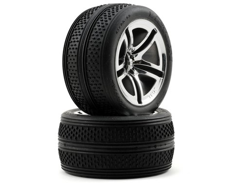Traxxas Victory Tires w/Twin Spoke Front Wheels (2) (Jato) (Chrome) (Standard)