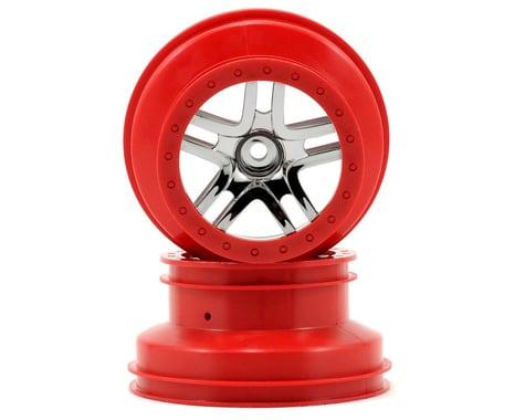 Traxxas 12mm Hex Dual Profile Split-Spoke SCT Wheels (Chrome/Red) (2) (Slash Front)