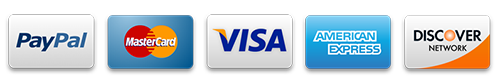Visa, MasterCard, American Express, Discover and PayPal accepted